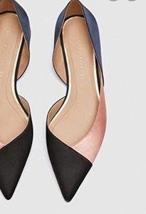 Zara NWOT Colorblock Satin Flats 8